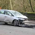 Car wreck from road debris