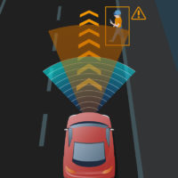 Lane departure warning llghts on car